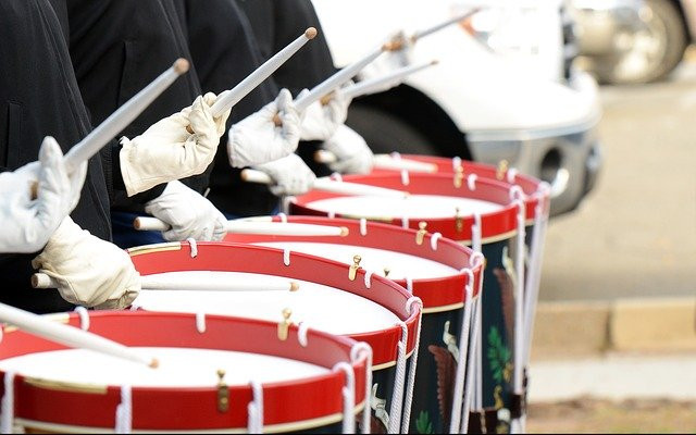 line of drums from marching band